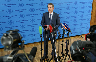 Speaker of the Russian State Duma Sergei Naryshkin