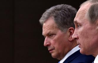 Finnish and Russian Presidents Sauli Niinisto and Vladimir Putin
