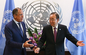 Russian Foreign Minister Sergey Lavrov and UN Secretary General Ban Ki-moon
