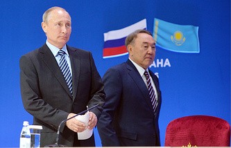 Russia's President Vladimir Putin and Kazakhstan's President Nursultan Nazarbayev