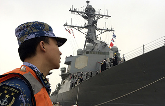US Navy guided missile destroyer in Shanghai, China