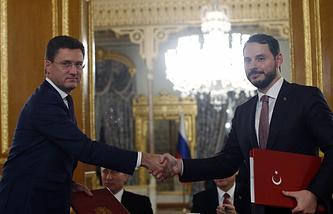 Russian and Turkey's Energy Ministers Berat Albayrak and Alexander Novak