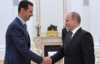 Syria's President Bashar al-Assad and Russia's President Vladimir Putin