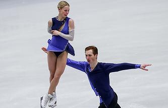 Evgenia Tarasova and Vladimir Morozov perform their free skate