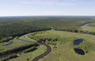 Samotlor oil field in West Siberia
