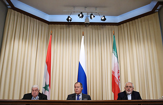 Syrian, Russian and Iranian foreign ministers, Walid Muallem, Sergey Lavrov and Mohammad Javad Zarif