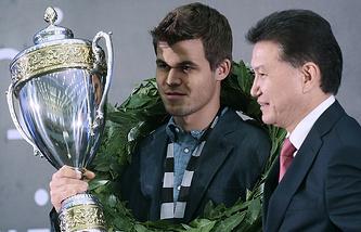 The reigning World Chess Champion, Magnus Carlsen, and FIDE chief Kirsan Ilyumzhinov