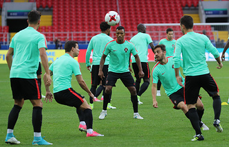 Players of the Portugal national football team during a training session ahead of their 2017 FIFA Confederations Cup Group A match against Russia