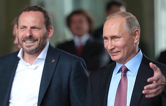 Yandex CEO Arkady Volozh and Russian President Vladimir Putin