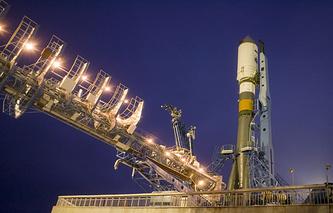 Soyuz-2 carrier rocket with Meridian satellite
