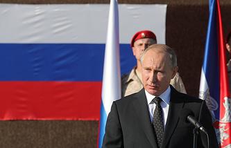 Russian President Vladimir Putin at the Hmeymim air base in Syria