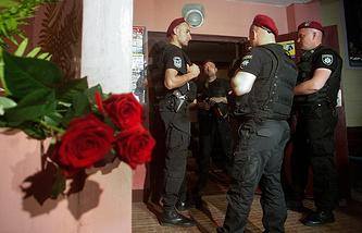 Police officers near Babchenko's home in Kiev