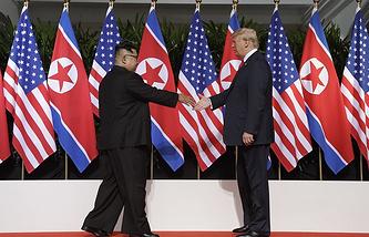 Leader of North Korea Kim Jong-un and US President Donald Trump