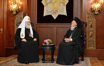 Patriarch Kirill of Moscow and All Russia and Ecumenical Patriarch Bartholomew