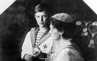 Russian Tsarevich Alexey and his mother Empress Alexandra Feodorovna