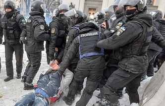 Protesters clash with riot police outside the Parliament of Ukraine, Verkhovna Rada, in February 2018