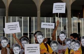 Акция в поддержку Эдварда Сноудена в Бразилии