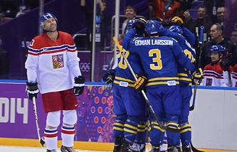 Радость шведских хоккеистов