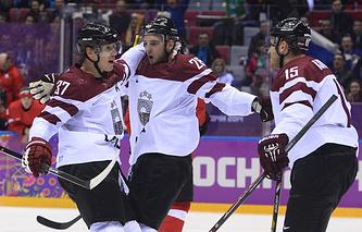 Хоккеисты сборной Латвии