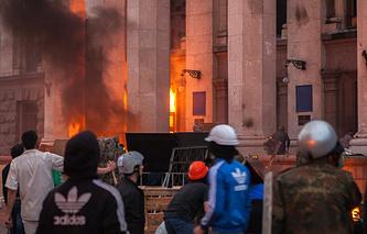 Пожар у здания областного совета профсоюзов 2 мая