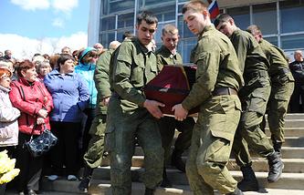 Прощание с погибшими при взрывах на военном складе в Забайкалье