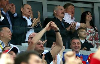 Владимир Путин во время финала ЧМ-2014 по хоккею