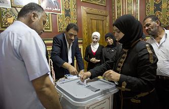 Избирательный участок в Дамаске