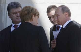 Петр Порошенко, Ангела Меркель и Владимир Путин