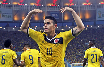 Хамес Родригес с 5 голами вышел на первое место в списке бомбардиров чемпионата мира