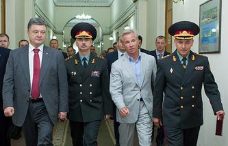 Петр Порошенко, Михаил Коваль и Валерий Гелетей