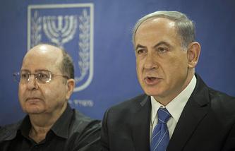 Министр обороны Израиля Моше Яалон и премьер-министр Израиля Биньямин Нетаньяху