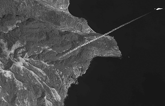 Запуск ракеты с территории КНДР. Снимок со спутника