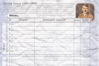 Страница школьного дневника с портретом Гитлера