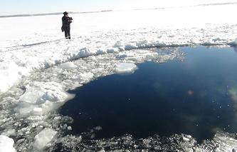 Озеро Чебаркуль. Место падения осколков метеорита 15 февраля 2013 года