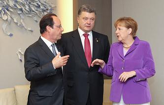 Франсуа Олланд, Петр Порошенко и Ангела Меркель (слева направо)