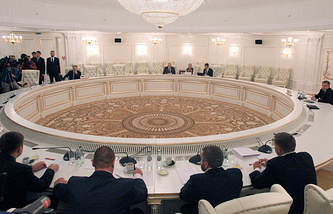 Во время заседания контактной группы по Украине, сентябрь 2014 года