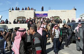 Акция в поддержку семьи иорданского пилота в его родном городе Караке, 4 февраля