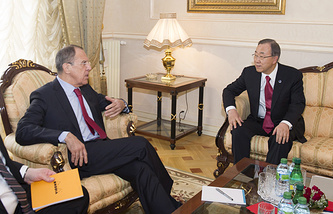 Министр иностранных дел России Сергей Лавров и генсек ООН Пан Ги Мун (слева направо)