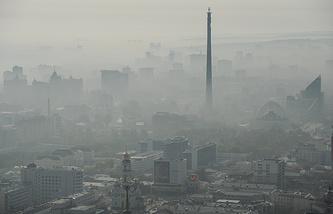 Вид на Екатеринбург и недостроенную телебашню