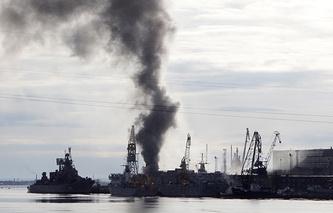 """Задымление от пожара на атомной подводной лодке """"Орел"""""""