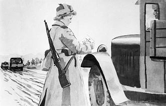 "Плакат К. Вялова ""Дорога на Запад"", текст И. Левидновой. ""Окно ТАСС"" №1152, 1944 год"