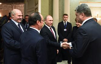 Президент Белоруссии Александр Лукашенко, президент Франции Франсуа Олланд, президент России Владимир Путин и президент Украины Петр Порошенко в Минске, 2015 год