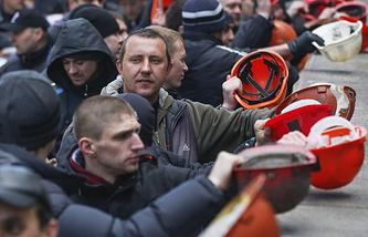 Акция протеста украинских шахтеров в Киеве