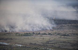 Лесной пожар в зоне отчуждения Чернобыльской АЭС