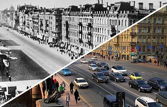 Невский проспект во время блокады Ленинграда и в 2015 году