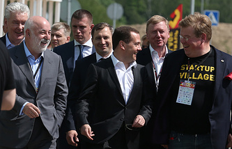 Премьер-министр РФ Дмитрий Медведев принял участие в конференции Startup Village 2015 в Сколково