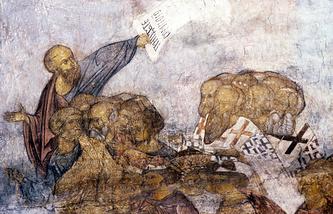 """Успенский собор. Фреска Андрея Рублева """"Шествие праведных в рай"""""""