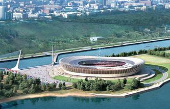 Макет стадиона в Нижнем Новгороде, который будет построен к ЧМ-2018 по футболу