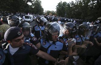 Во время акции протеста в Ереване
