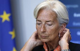 Глава МВФ Кристин Лагард во время заседания Еврогруппы в Люксембурге